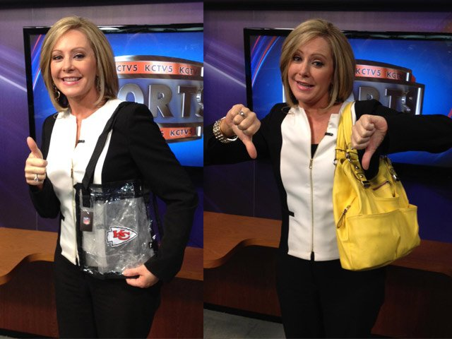 KCTV5's Karen Fuller demonstrates what kind of bags can and cannot be brought to stadiums under the new NFL policy.