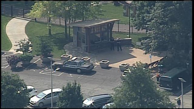 Police outside Overland Park Arboretum