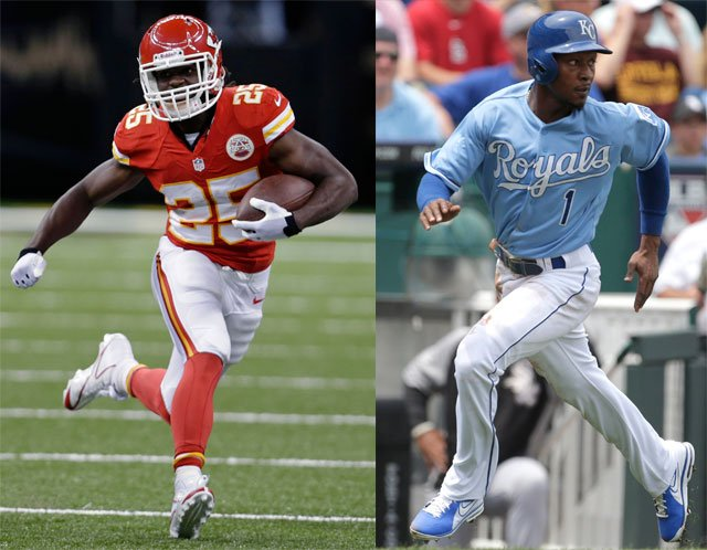 All that's keeping Royals outfielder Jarrod Dyson and Chiefs running back Jamaal Charles from deciding the fastest man in Kansas City sports is about 300 yards of parking lot. (The Associated Press)