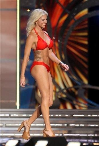 (AP Photo/The Press of Atlantic City, Edward Lea). In this Tuesday Sept. 10, 2013 photo, Theresa Vail, Miss Kansas, takes part in the swimsuit competition during the first night of the Miss America Pageant at Boardwalk Hall, in Atlantic City, N.J.