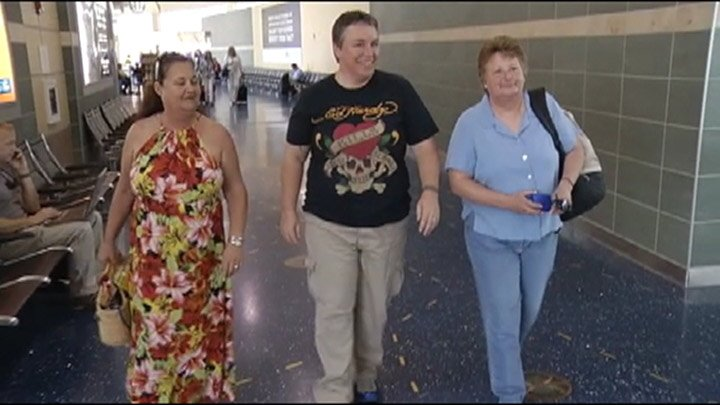 Donna Tolen, Maret Hunter and Carol Winscott reunited at KCI Wednesday after not having see each other for 45 years.
