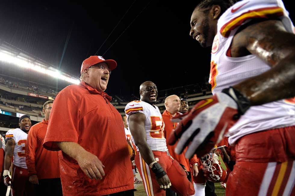 Kansas City Chiefs coach Andy Reid reacts after being doused in the final minutes of the Chiefs' NFL football game against the Philadelphia Eagles, Thursday, Sept. 19, 2013, in Philadelphia. Kansas City won 26-16. (AP Photo/Michael Perez)