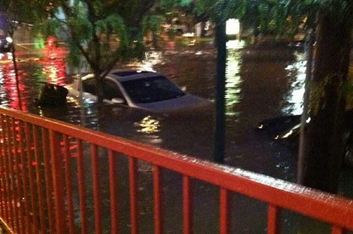 Flooding outside Freebirds restaurant in Westport