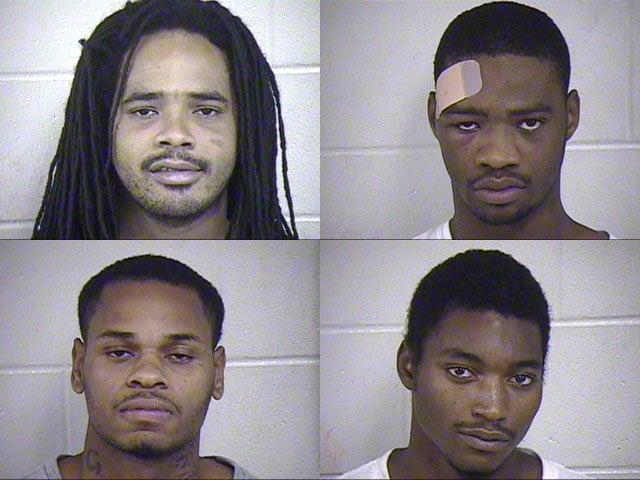 Suspects from top left counterclockwise: Jonathan Fields, Joshua Fields, Marlyn Standifer and Theodore Watkins.