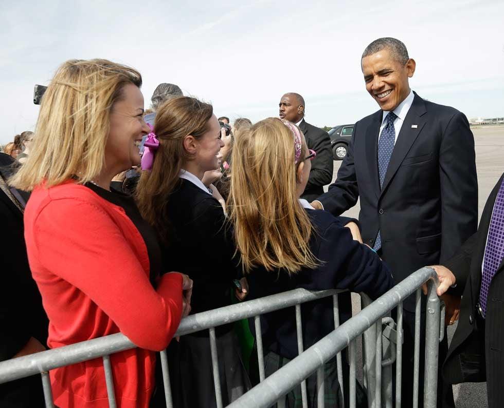President Barack Obama arrives at Kansas City International Airport on Friday