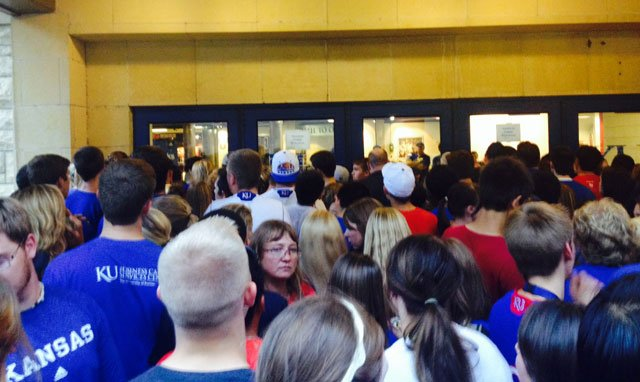 University of Kansas athletic officials say they will consider changing entry procedures for the Late Night in the Phog basketball event after complaints about a lack of crowd control last Friday. (Photo courtesy: Kierstyn Cox)