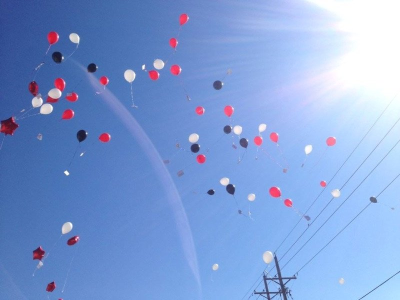 The nearly 200 students at Tiffany Mogenson's dance studio had a balloon release for her Saturday.