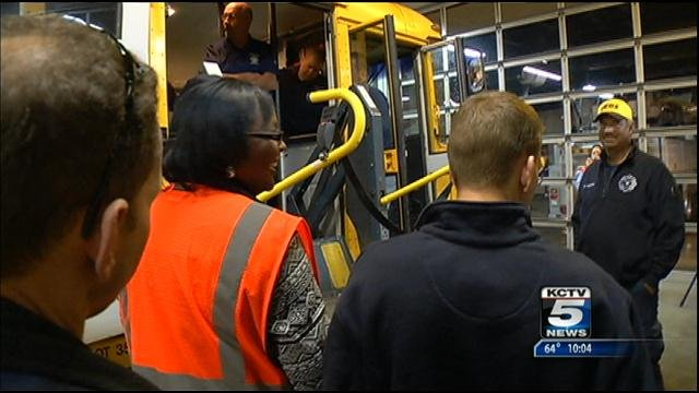 First responders are getting a tour of two school buses to familiarize them with some of the safety features and exit routes.