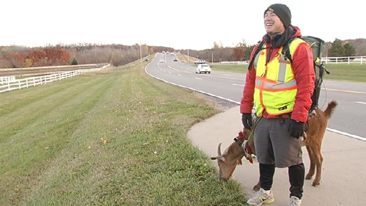 Man crossing country with goat makes his way through kansas city
