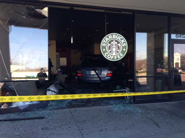 © Vehicle inside Gladstone Starbucks (Courtesy of Jon Andrews)