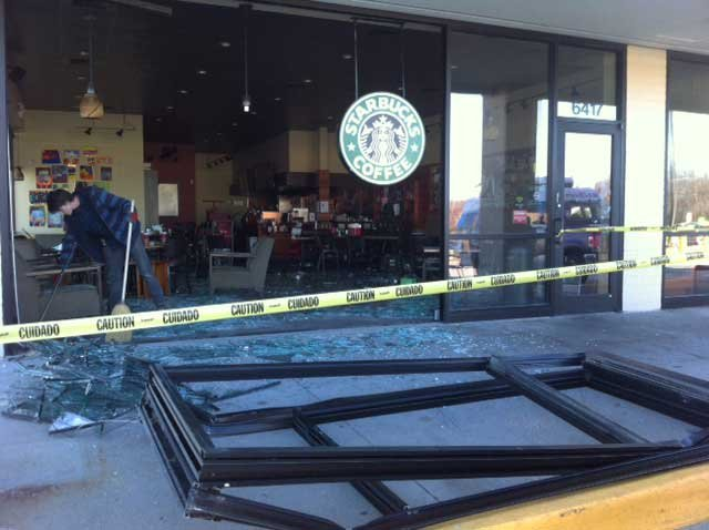 © Cleanup after vehicle plows into Starbucks (Courtesy of Jon Andrews)