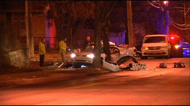 Police helicopter was following a vehicle driving erratically when it slammed into a tree, killing the driver.