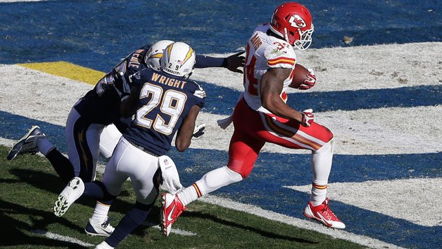 Kansas City Chiefs running back Knile Davis, right, scores a touchdown as San Diego Chargers cornerback Shareece Wright (29) and San Diego Chargers free safety Eric Weddle, left, can't catch him during the first half on Sunday. (AP Photo/Gregory Bull)