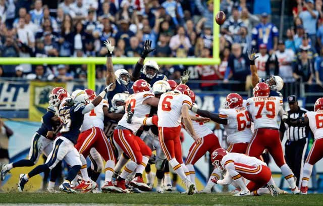 The NFL says referees erred in not penalizing the San Diego Chargers for an illegal formation on a missed 41-yard field goal attempt by Ryan Succop of the Kansas City Chiefs with four seconds left in regulation on Sunday. (AP Photo/Lenny Ignelzi)