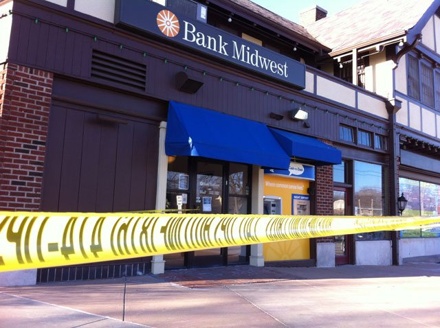Police said the Bank Midwest, located at 6249 Brookside Blvd., was robbed about 2 p.m. Monday.
