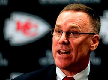 (AP Photo/Charlie Riedel, File). FILE - In this Jan. 14, 2013 file photo, Kansas City Chiefs general manager John Dorsey speaks at a news conference in Kansas City, Mo.