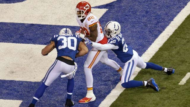 Chiefs wide receiver Dwayne Bowe (82) scores a touchdown as Indianapolis Colts free safety Darius Butler (20) and strong safety LaRon Landry (30) defend during the first half of an NFL wild-card playoff football game Saturday, Jan. 4. (AP Photo/AJ Mast)
