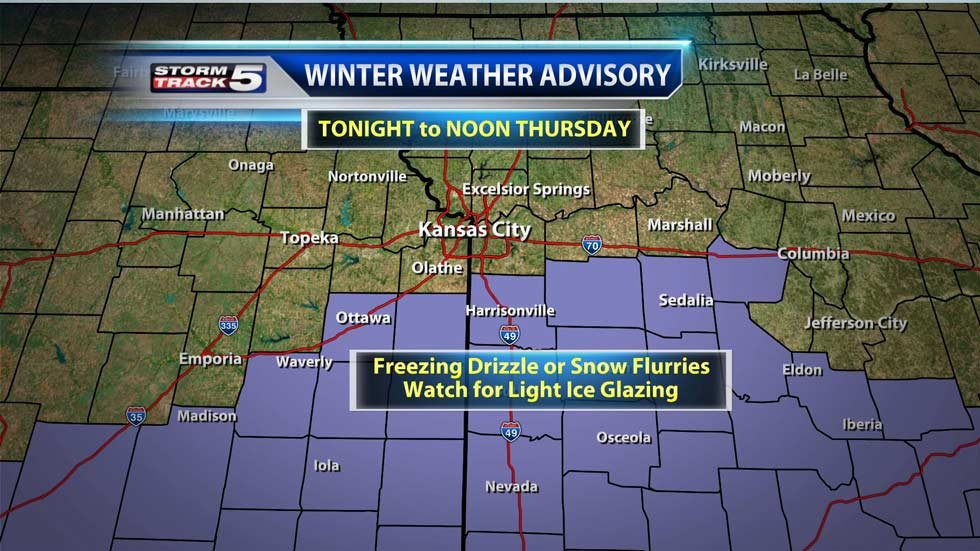 Wednesday's Winter Weather Advisory includes Miami, Linn Counties in Kansas. Cass, Bates, Johnson, Henry to Pettis Counties in Missouri.