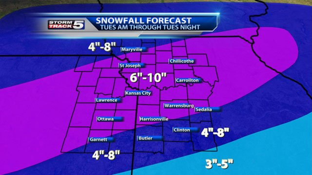 KCTV5 meteorologist Gary Amble says Tuesday will start out with only light snow as the sun rises, but that will quickly change with heavy bands of snow falling from mid-morning until late afternoon.