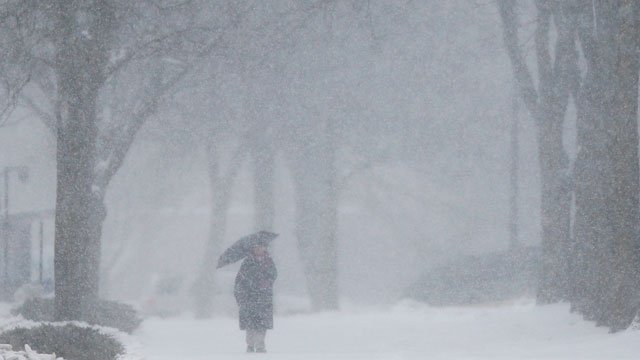 A woman with an umbrella walks in the snow along Jayhawk Boulevard on the University of Kansas campus in Lawrence, Kan., Tuesday, Feb. 4, 2014.  (AP Photo/Orlin Wagner)