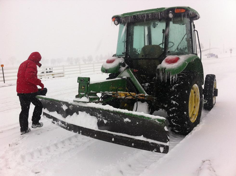 Lees Summit could take 40 hours to get to residential neighborhoods. Dave Gale isn't waiting, he's plowing his New Longview neighborhood. When it snows the developer wears a different hat. (Eric Chaloux/KCTV)