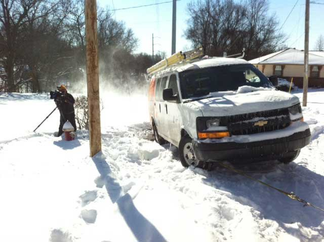 AT&T van is stuck