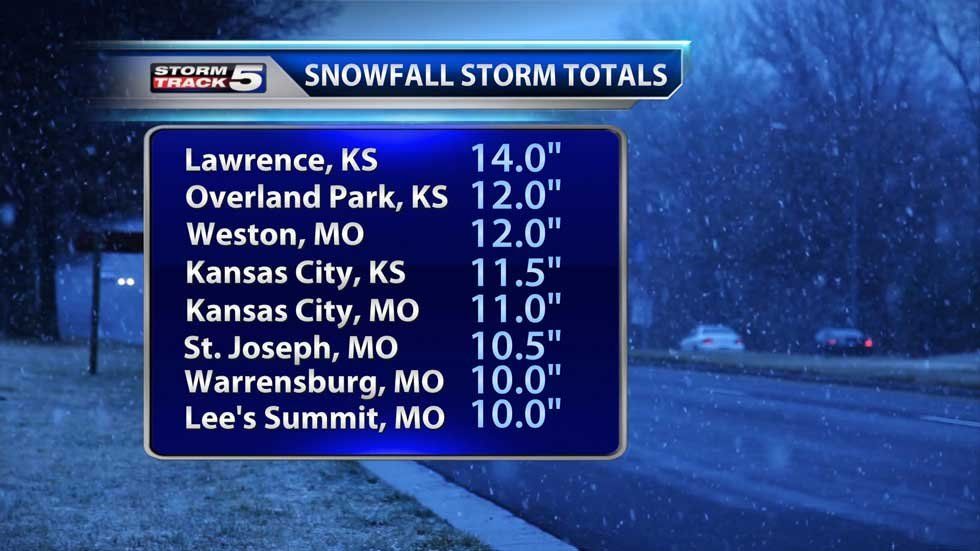 Snow totals from Feb. 4-5 snowstorm