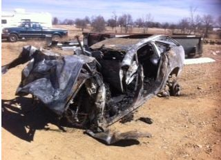 Troopers said a 2007 Audi driven by Dmitriy S. Banakh, 25, drove off the road and smashed into a tree, catching fire. (Alan Shope/KCTV5)