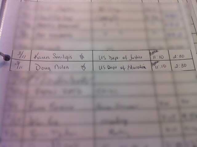 Sign-in sheet at Gardner-Edgerton school board (Alice Barr/KCTV5)