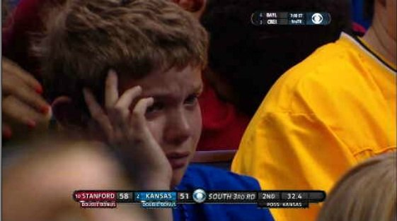 One young fan in St Louis showed just how much this game meant to him and tugged at the heartstrings of Jayhawk fans watching on CBS.