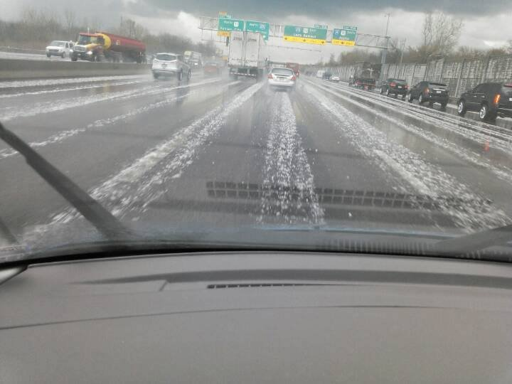 Heavy hail littered Kansas City area highway