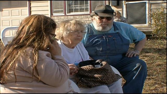 Pat Williams (middle) was home fast asleep when a fire broke out. She said she was completely unaware of the blaze.
