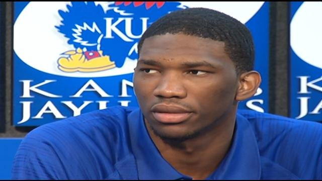 Kansas freshman Joel Embiid is entering the NBA draft after a breakthrough season that ended with a stress fracture in his back that kept the 7-footer out of the NCAA tournament.