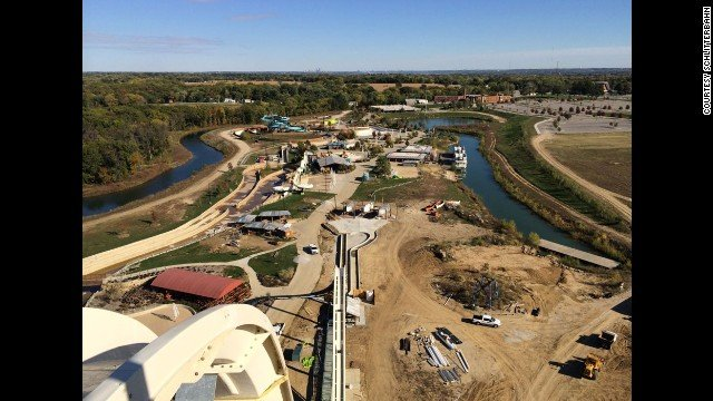At Schlitterbahn Waterpark in Kansas City, KS, riders of Verrückt will have a wide view of the park from the top of the record-setting water slide.