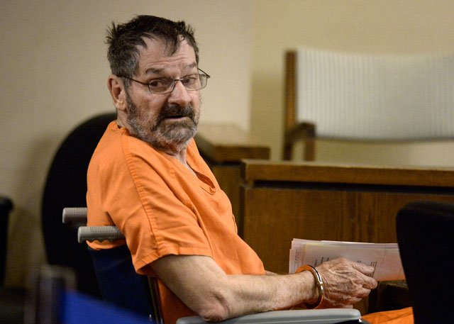 Frazier Glenn Cross, who is also known as Frazier Glenn Miller, looks around after being wheeled into a Johnson County courtroom for a scheduling session on Thursday, April 24, 2014, in Olathe. (AP Photo/The Kansas City Star, John Sleezer, Pool)