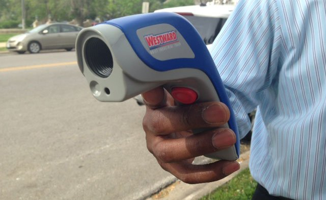 The laser pointer that prompted a lockdown at Wyandotte High School Thursday morning.