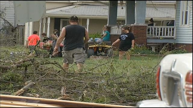 Recovery efforts have begun in Orrick as volunteers helps residents get back on their feet.  The town of around 800 residents is in cleanup mode after it took a direct hit from an EF-2 tornado Saturday evening.