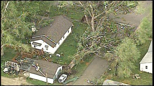 Damage in Orrick after EF2 tornado