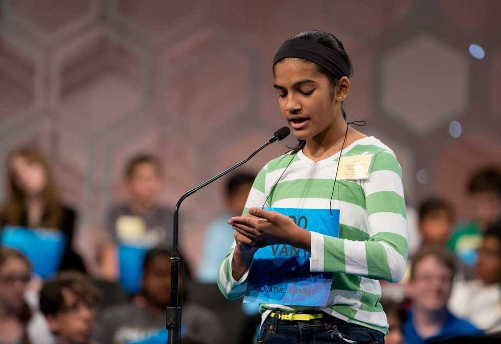 Forty-six of the nation's best young spellers have taken the stage for the nerve-jangling semifinal rounds of the Scripps National Spelling Bee. The semifinalists include 12-year-old Vanya Shivashankar of Olathe.
