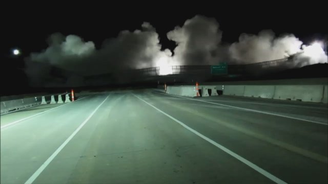 The Roe Avenue bridges that once stood over Interstate 435 in Johnson County are no more.  Crews imploded the bridges late Saturday night.