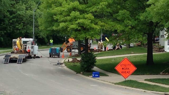 The break happened about 11:45 a.m. Monday near Northeast 85th Terrace and North Troost Avenue. (Brett Hacker/KCT5 News)