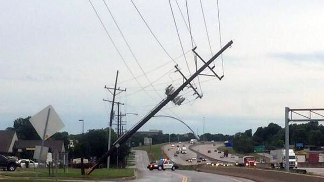 Strong winds caused a downed power line at East Rogers Street and South Clairborne Road.