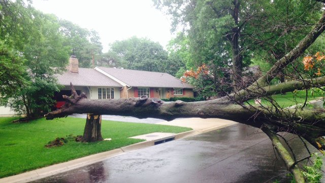 Storm damage in the 6600 block of Rainbow Avenue in Mission Hills, KS.