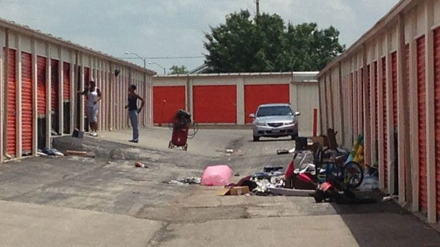 Police were called to a business in the 7900 block of Woodson Road on Monday morning regarding the damage and possible entry of several storage units over the last two days. (Bill Lindsay/KCTV5 News)