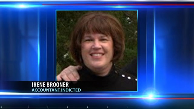 Irene Marie Brooner has been charged with embezzling nearly $3 million from a bank and Galvmet Inc., a sheet metal fabrication and steel service company that closed earlier this year.