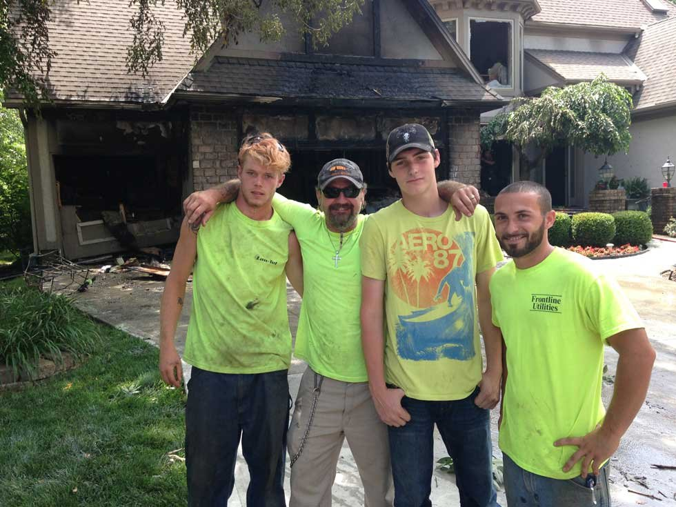 Four utility workers who rescued woman