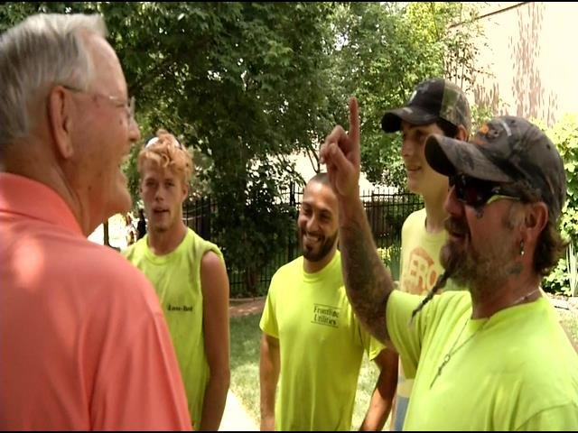 Homeowner Bill Able thanks utility workers for saving his wife from house fire