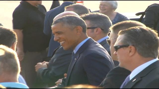 President Obama talks to supporters at KCI