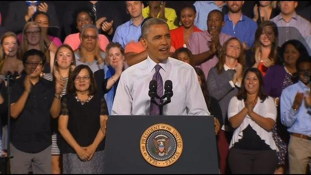 President Barack Obama is touring the country pushing his economic agenda ahead of the midterm elections, and it was the focus of speech Wednesday at Kansas City's historic Uptown Theater.