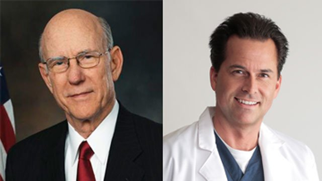 In Kansas, three-term Republican Sen. Pat Roberts, left, faces Milton Wolf, a radiologist and the second cousin of President Barack Obama.
